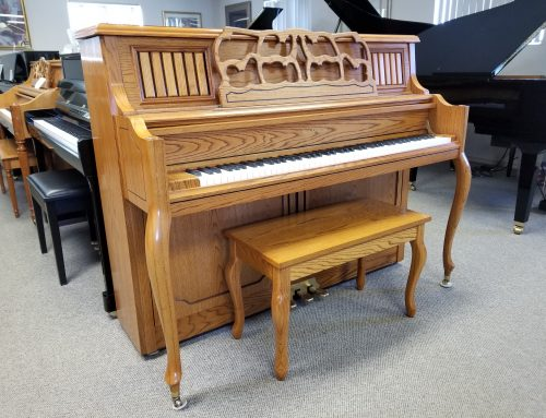 1999 Samick JS118F oak decorator studio piano – $2895