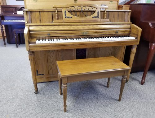 1974 Wurlitzer 41″ console piano, oak – $1195