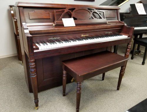 2002 Bergmann 43″ console piano, mahogany – $2295